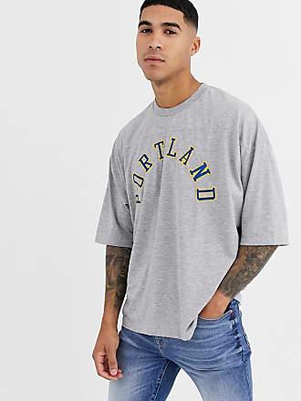 Asos Übergroßes T-Shirt mit Ziernähten und Stadtnamen-Applikation-Grau