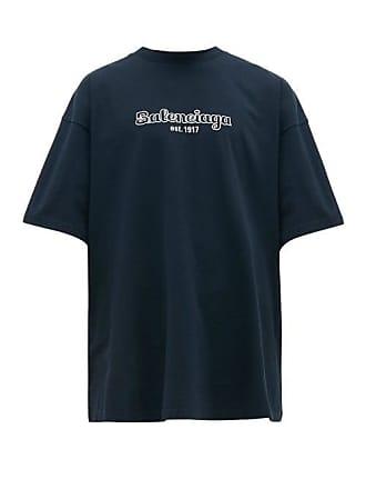 578750493b16 Balenciaga Logo Embroidered Cotton Jersey T Shirt - Mens - Navy White