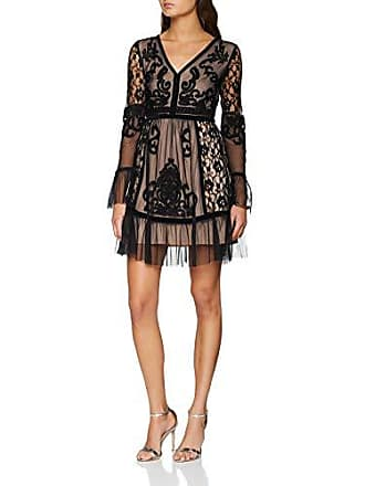 8cfd8cff76 Frock and Frill Embroidered Dress with Frill Hem And Sleeve Vestito Elegante,  Nero, 46