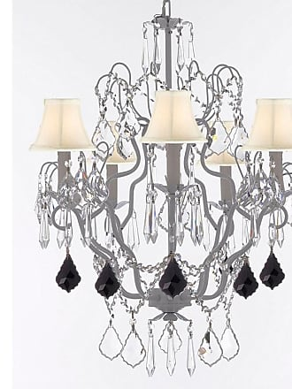 Gallery T22-2658 5 Light 21 Wide Crystal Chandelier with Fabric