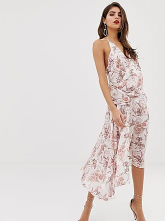 94f5bf0fac6 Asos strappy midi dress in satin with ruched drape side in tolie du joie