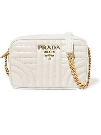 Prada Diagramme Small Quilted Leather Shoulder Bag - White