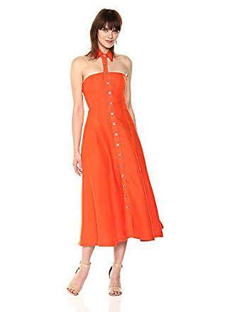 288776bf506 Mara Hoffman Womens Veronique Button up Floating Collar Midi Dress, Orange,  0