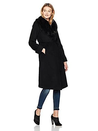 Via Spiga Womens Maxi Belted Wool Coat with Faux Fur Collar, Black, 8