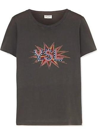 267f15d58b5 Saint Laurent T-shirt En Jersey De Coton Imprimé Effet Vieilli - Gris foncé