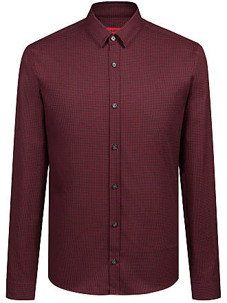 HUGO BOSS Hugo Boss Extra-slim-fit shirt in houndstooth cotton tweed XXL Red