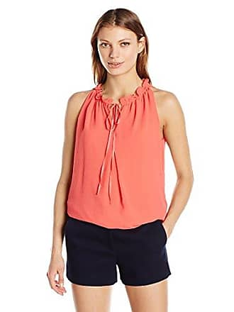 Max Studio Womens Crimped Sleeveless Blouse, Deep Coral, X-Small