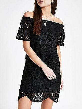 River Island Womens Black lace bardot swing dress