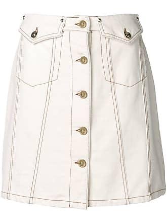 Versace Jeans Couture Saia evasê com botões - Branco
