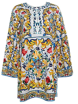 207ebb89e8 Dolce   Gabbana Dolce And Gabbana Majolica Printed Cotton Bell Sleeve Kaftan  Dress S