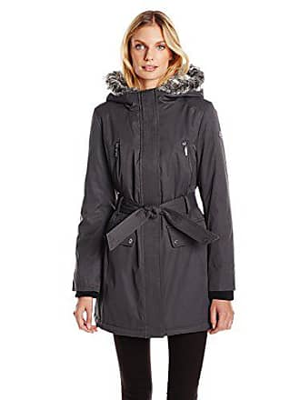 Kensie Womens Polyester-Filled Belted Parka, Charcoal, M