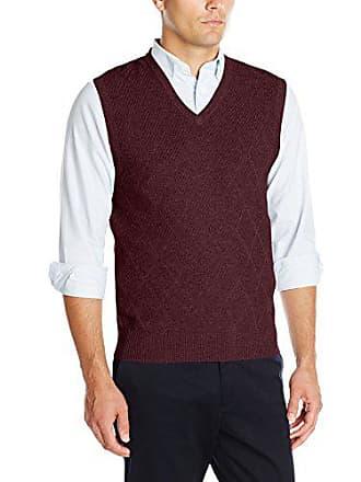 Haggar Mens Heather Diamond Texture Stitch V-neck Sweater Vest, Burgundy, Medium