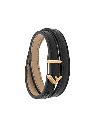 Fendi F logo double-wrap bracelet - Preto