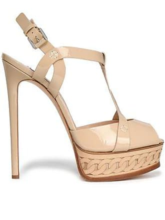 e82a9f2aa59 Casadei Casadei Woman Cutout Patent-leather Platform Sandals Neutral Size  38.5