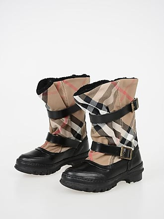 Burberry Fabric and Leather Boots with Buckles size 35