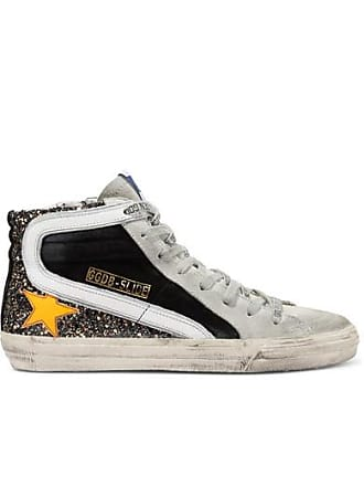 85e2f411f133 Golden Goose Slide Distressed Glittered Leather And Suede Sneakers - Black