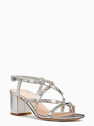 Kate Spade New York Wynne Sandals, Silver Metallic Nappa - Size 6.5