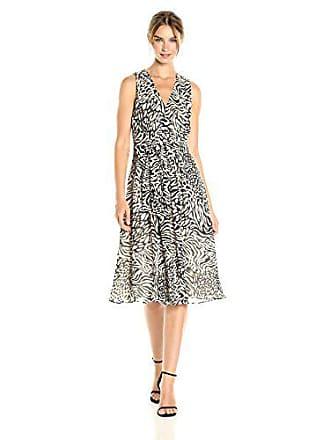 Anne Klein Womens Pleated V-Neck Midi Dress, Black/Oyster Shell, 10