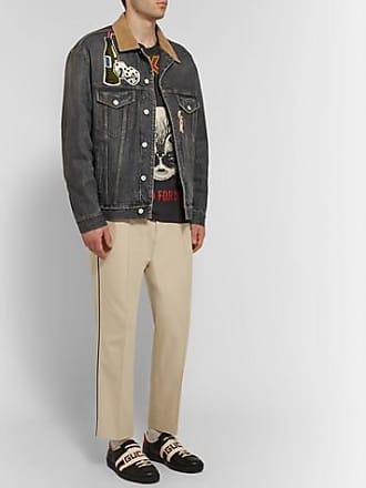 bd410b539fb Gucci Corduroy-trimmed Appliquéd And Printed Denim Jacket - Gray