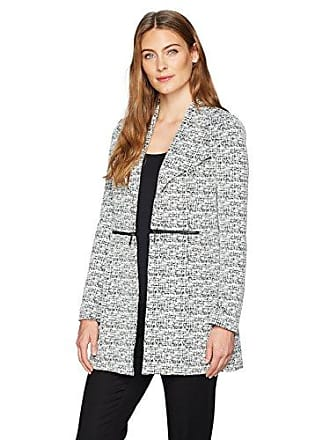 Kasper Womens Jacquard Topper with Zipper Detailing, Vanilla ice/Black, 12
