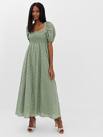 Asos shirred bustier maxi dress with puff sleeve in broderie - Green