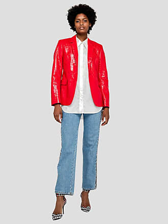 Msgm denim trousers with python effect bands
