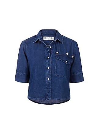 être cécile Cropped Denim Shirt Mid Blue Denim