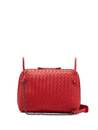 Bottega Veneta Nodini Intrecciato Leather Cross Body Bag - Womens - Red