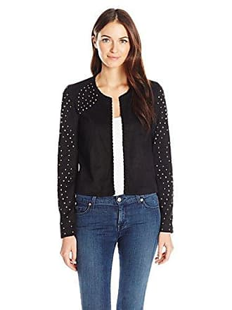 William Rast Womens Hazel Studded Jacket Suede, Jet Black, L