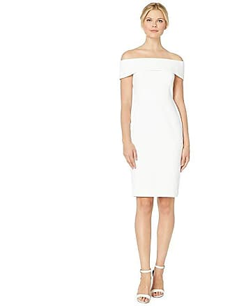 e13215203354 Calvin Klein Off the Shoulder Sheath Dress (White) Womens Dress