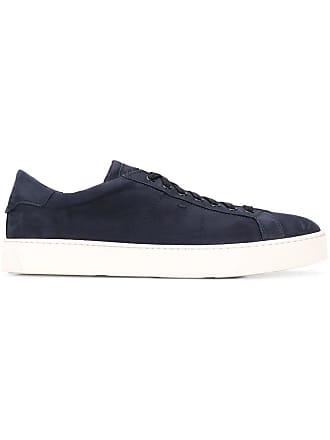 Santoni flat lace-up sneakers - Blue