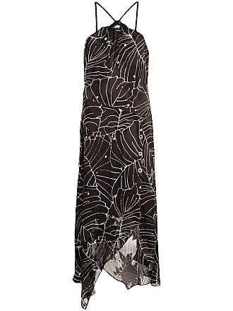 Yigal AzrouËl Tropical Leaf printed dress - Black
