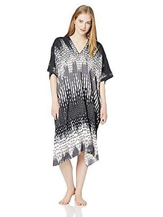 Natori Womens Printed Charmeuse Caftan, Black/White, XL