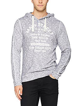 262d8ce4dd6b7 Tom Tailor Loose Slub Hoody with Print, Sweat-Shirt Homme, Bleu (Knitted