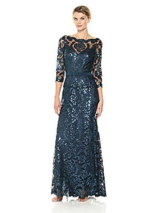 897b8ec7 Tadashi Shoji Womens Sequinned Three-Quarter Sleeve Gown with Belt, Starry  Nite, 4. USD $508.00