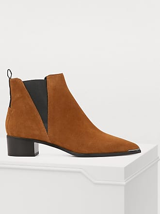 acne free glossed leather ankle boots