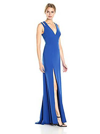 Halston Heritage Womens Sleeveless Deep V Neck Crepe Gown with Back Cut Outs, Cobalt, 0