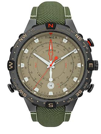 Timex Watch Mens Allied 45MM Tide Temp Compass Fabric Strap Gunmetal/Tan Item Tw2T76500Vq