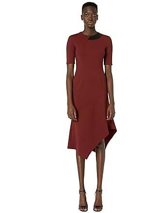 Yigal AzrouËl Mechanical Stretch Drape Neck with Asymmetric Hem (Bordeaux) Womens Dress