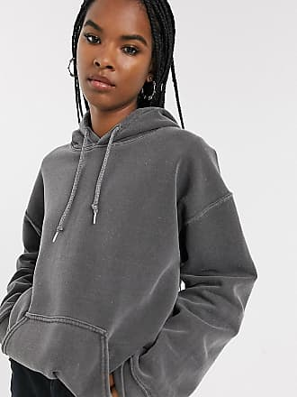 Reclaimed Vintage inspired overdye charcoal hoodie-Grey