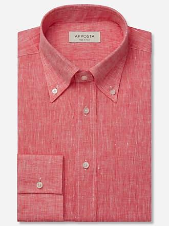 Apposta Camicia tinta unita rosso lino tela lino normandia, collo stile button down