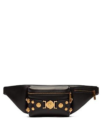 Versace Medusa Coin Plaque Leather Belt Bag - Mens - Black