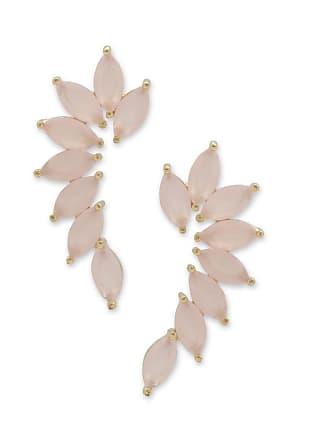 Renata Rancan Brinco Ear Cuff com Tiras de Zircônias Rosas Banho em Ouro 18K - Rosa