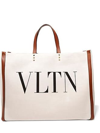 Valentino Valentino Garavani Plage Large Leather-trimmed Printed Canvas Tote - Neutral
