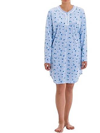 508f94e117 Zeitlos Nachthemd Amelie Langarm mit Verzierter Perlmuttknopfleiste und  Spitzenverzierung Druck Nachtwäsche Sleepwear, Farbe:Hellblau