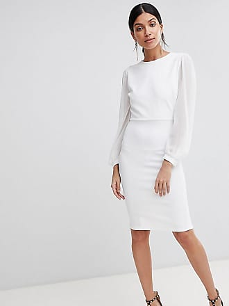 John Zack Tall Open Back Bodycon Dress With Split Sleeve Detail - White