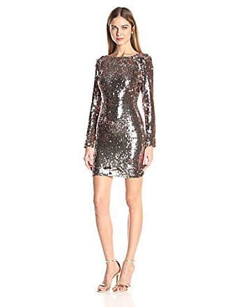 857b6594e83 Dress The Population Womens Lola Long Sleeve Sequin Dress, Rose Gold, L