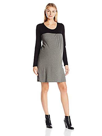 08b0fa3c458e8 Maternal America Womens Maternity Nursing Baby Doll Dress, Black/Heather  Grey, X-
