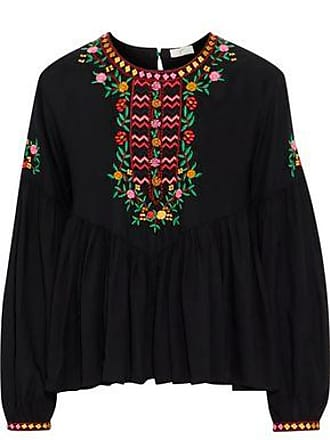 0f41a7ae81 Joie Joie Woman Ghita Embroidered Gathered Voile Blouse Black Size XXS