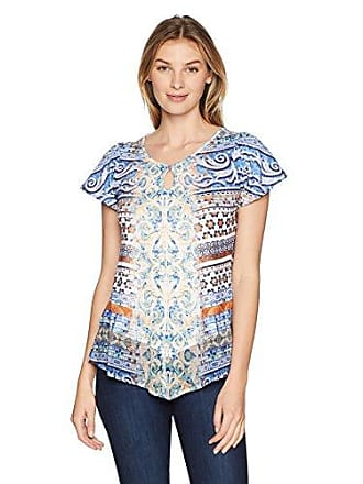 Oneworld Womens Short Sleeve Printed Top with Lace Back, spa Vista/White, Medium